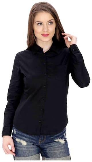 RAFFLESIA TOLPIS Women Black Solid Regular Fit Shirt
