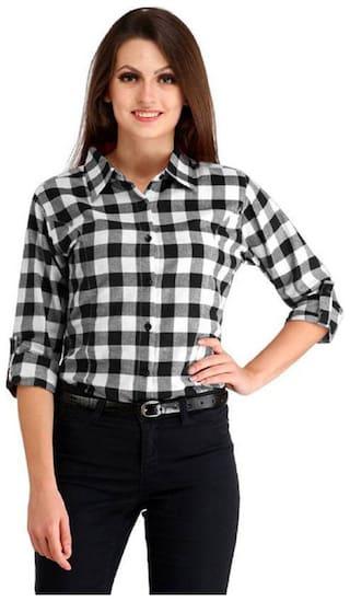 RAFFLESIA TOLPIS Women Black & White Checked Regular Fit Shirt