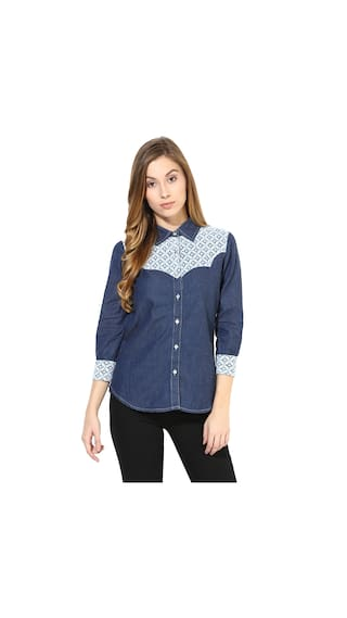 The Vanca Shirts With Lace On The Yoke Portion