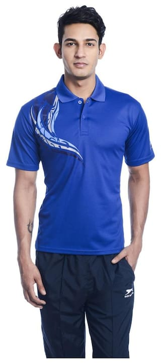Shiv Naresh Printed Men's Polo Neck T-shirt;Classic Design;Blue