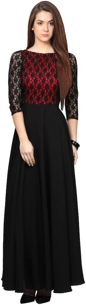 Shivam Creation Black & Red Solid Maxi dress