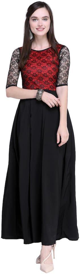 Shivam Creation Black Solid Maxi dress