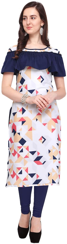 Shivam Creation Navy Blue Color Digital Printed Crepe Fabric Used Fancy Kurtis for Womens