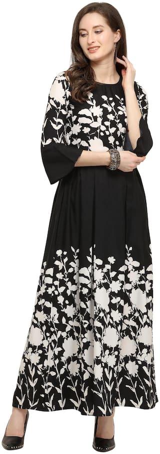 Shivam Creation Black Printed Fit & flare dress