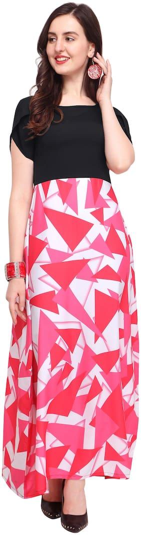 Shivam Creation Black Printed Maxi dress