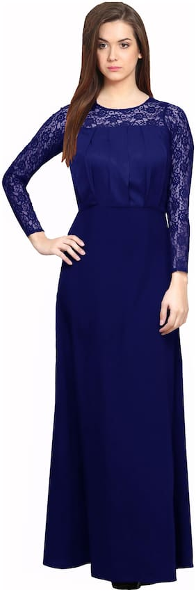 Shivam Creation Blue Solid Maxi dress