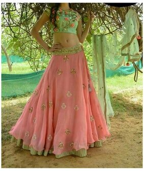Shopaholic Enterprise Peach Georgette A-line Semi Stitched Lehenga