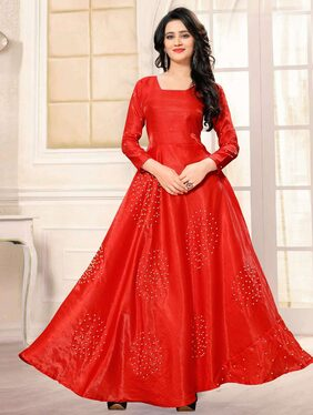 Shopaholic Enterprise Banglory Sattin Red Moti Work Bollywood Gown