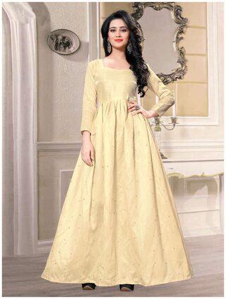 Shopaholic Enterprise Banglory Sattin Off White Moti Work Bollywood Gown