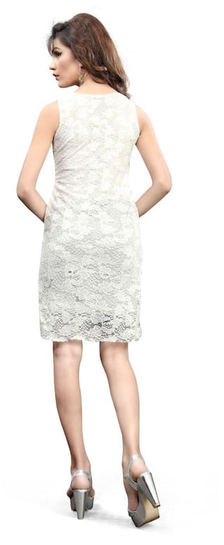 World Women's Fabric Lace Dress White Designer Shopaholics OqPd5O