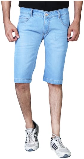 Shopjinie Men Solid Blue Denim Shorts