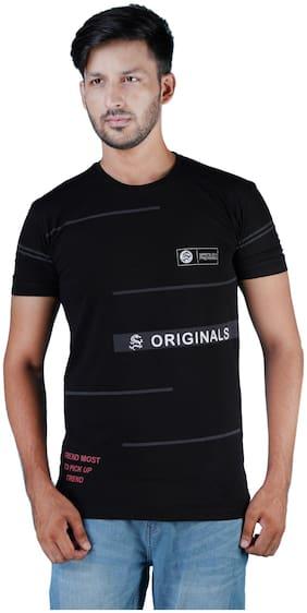 Shopjinie Men Black Slim fit Cotton Round neck T-Shirt - Pack Of 1