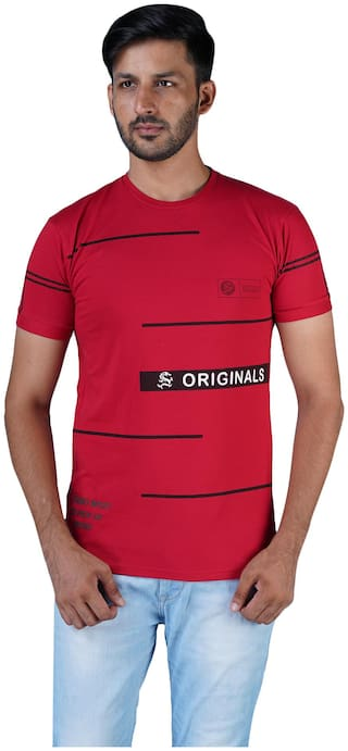 Shopjinie Men Red Slim fit Cotton Round neck T-Shirt - Pack Of 1