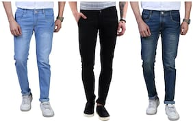 Shopjinie Men Blue & Black Regular Fit Jeans