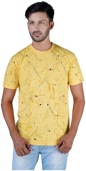 Shopjinie Men Slim fit Round neck Printed T-Shirt - Yellow