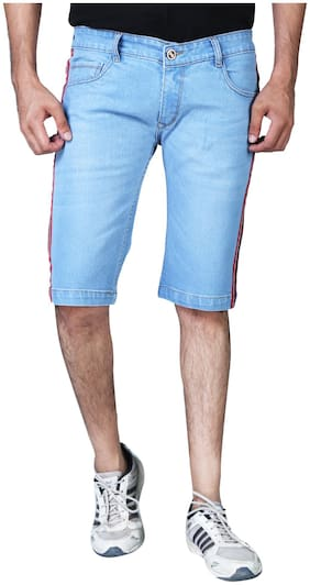 Shopjinie Men Solid DenimBlue  Shorts