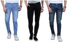 Shopjinie Men Mid rise Regular fit Jeans - Blue & Black