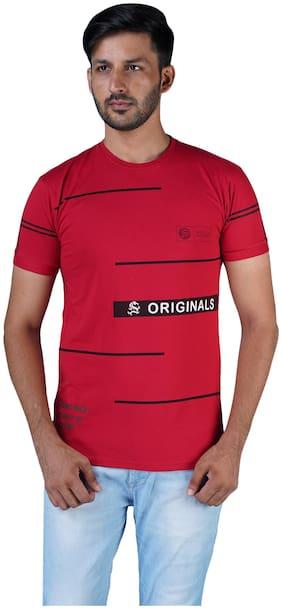 Shopjinie Men Slim fit Round neck Printed T-Shirt - Red