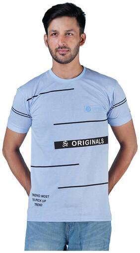 Shopjinie Men Slim fit Round neck Printed T-Shirt - Blue