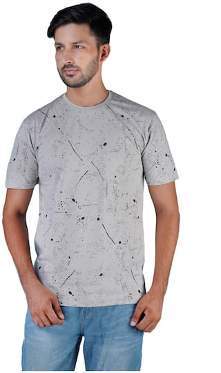 Shopjinie Men Slim fit Round neck Printed T-Shirt - Grey