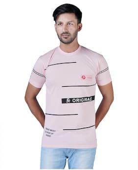 Shopjinie Men Peach Slim fit Cotton Round neck T-Shirt - Pack Of 1