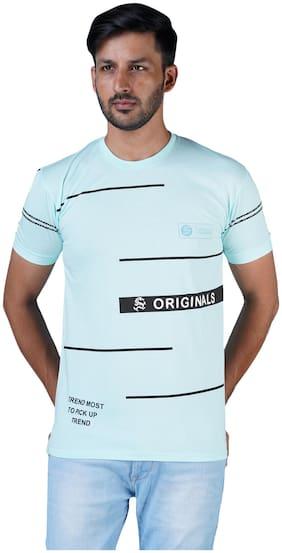 Shopjinie Men Slim fit Round neck Printed T-Shirt - Turquoise