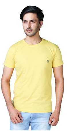 Shopjinie Men Yellow Regular fit Cotton Blend Round neck T-Shirt - Pack Of 1