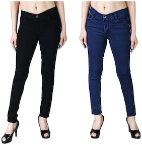 Shopjinie Women Slim Fit Mid Rise Solid Jeans - Blue & Black