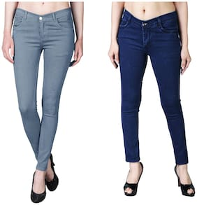 Shopjinie Women Slim Fit Mid Rise Solid Jeans - Grey & Blue
