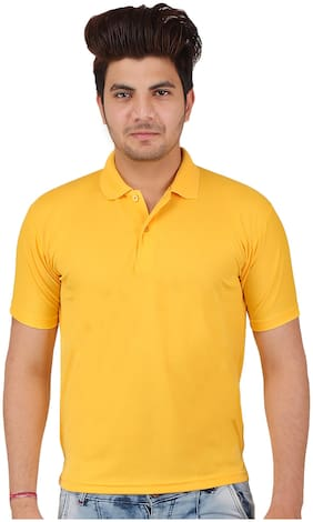 ShopMantra Men Regular fit Polo neck Solid T-Shirt - Yellow