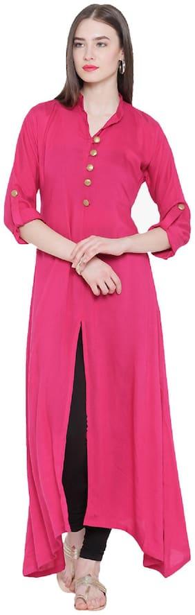 ShopMerry Crepe Solid Women Pink Kurta