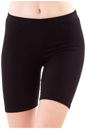 Shopolica Women Solid Sport shorts - Black
