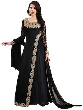 SHOPONBIT Present embroidered work Black Semi-Stitched Anarkali Suit for women's SHNKS3066BLACK