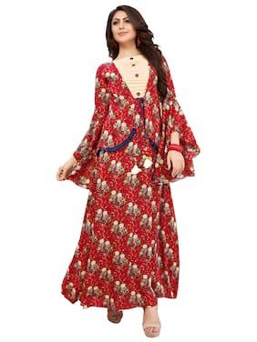 ff671bb0c Shoponbit Women Rayon Printed Anarkali Kurti Dress - Red
