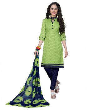 Shoponbit Women's Cotton Jacquard Solid Dress Material(Mahendi Green_Free Size_SH-1002)