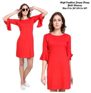 Klick2Style Rayon Printed A-line Dress Red