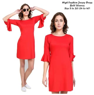 Klick2Style Viscose Printed A-line Dress Red