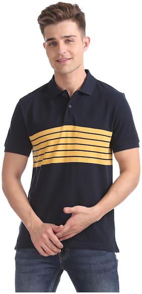 Izod Men Regular fit Polo neck Striped T-Shirt - Blue