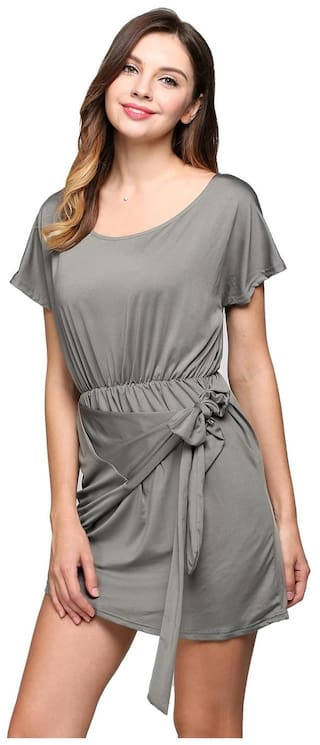 Short Casual Collar Round Sleeve Asymmetrical Bow Hem Dress Solid qwSUHT