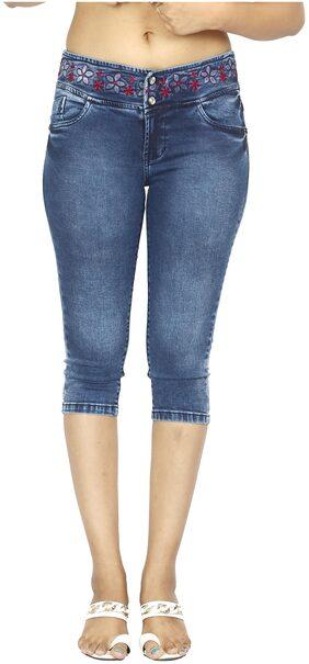 FCK-3 Women Solid Shorts - Blue