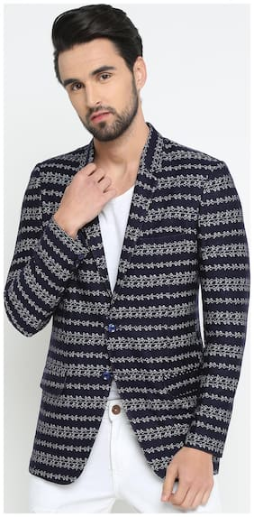 Show off Men Blue Printed Slim fit Single Breasted Blazer