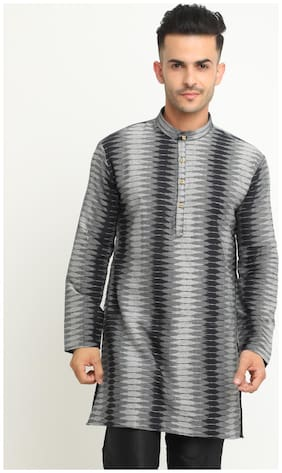 Show off Men Grey & Black Regular Fit Kurta