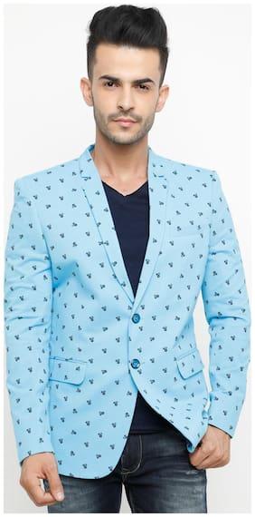 Show off Men Blue Printed Slim fit Single Breasted Blazer