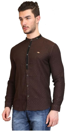 Showoff Brown Linen Shirt