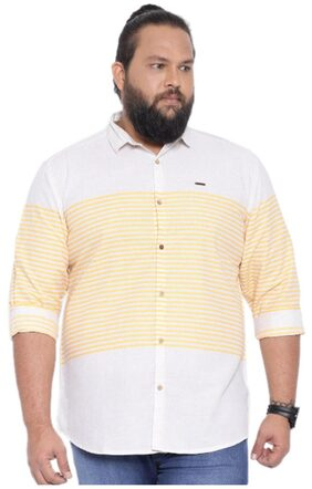 Showoff Men's Striped Grey Casual Shirt