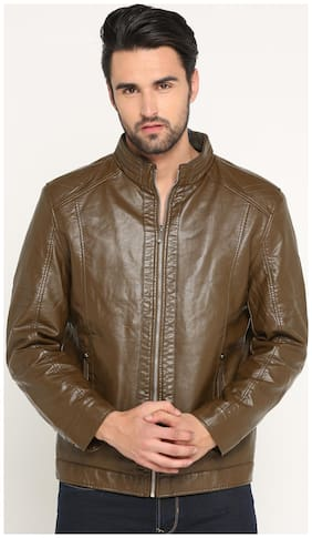 Show off Men Brown Solid Leather jacket