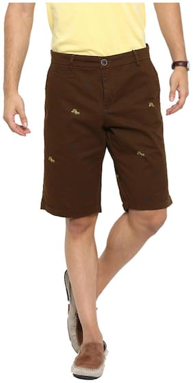 Showoff Men Brown Slim Fit Chinos Shorts