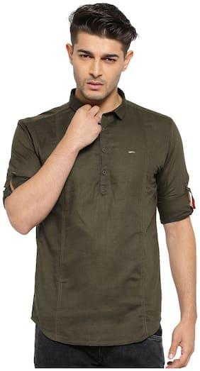 Showoff Men Brown Solid Regular Fit Casual Shirt