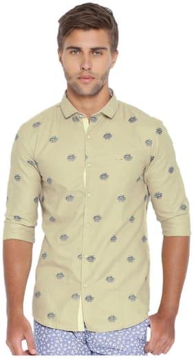 Showoff Men Beige Printed Slim Fit Casual Shirt