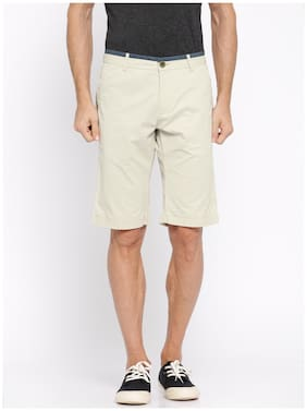 SHOWOFF Men Beige Solid Casual Shorts